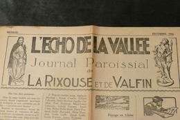 39 - La Rixouse Et Valfin *** Journal Paroissial *** L'Echo De La Vallée *** / J 71 - Other