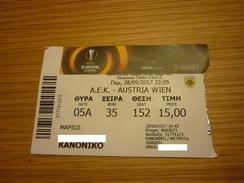 AEK-Austria Wien UEFA Europa League Football Match Ticket Stub 28/09/2017 - Tickets D'entrée