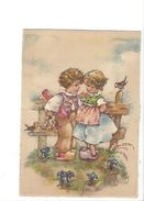 18301 - Bonne Fête Couple Enfants Sur Un Banc Gentianes Par Gerna Maison - Anniversaire