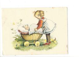 18302 - Filllette Et Poussette Avec Bébé ( Trou De Punaise) - Bébés