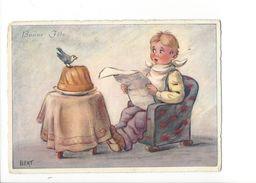 18303 - Bonne Fête Enfant Lisant Journal Devant Oiseau Sur Gateau Par Bert (format 10 X 15) - Bébés