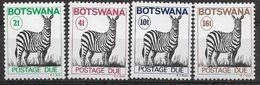 1977 BOTSWANA Taxe -22-25** Zèbre,  Issus De Série, Manque 21A - Botswana (1966-...)