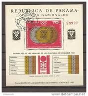 Panama - Foglietto Usato: Medagliere Dei Giochi Olimpici Invernali Di Grenoble 1968 - Inverno1968: Grenoble