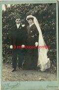 Grand CDV-(CAB) Mariage-la Mariée Est En Noir-photo G. Turgot à Cérences - Old (before 1900)