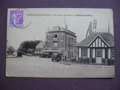 CPA 14 MERVILLE FRANCEVILLE PLAGE La Poste Auxiliaire Hotel Des Pins VOITURES SEPIA 1933 Canton CABOURG - France