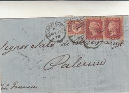 London To Palermo, Cover Via Di Francia Con 1/2 + 1+1 Penny 1878 - 1840-1901 (Regina Victoria)