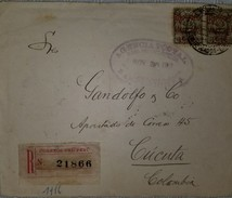 O) 1919 PERU, COVER REGISTERED, COAT OF AMRS 50 CENTAVOS BLUE GREEN-SCOTT O1, TO COLOMBIA, BLOCK FOR 2 XF - Peru