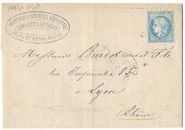 LETTRE Avec N° 60A  ; 143 G1 ;   1er état   TTB - 1871-1875 Cérès