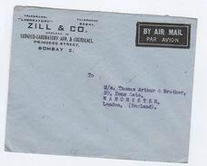 1949 INDIA Air Mail COVER ZILL SURGICO LABORATORY & CHEMICALS Co Bombay To Manchester GB Chemistry Health Medicine Stamp - Chemistry