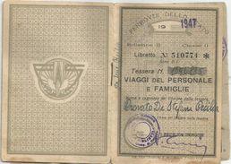 TESSERA FERROVIARIA   '47   CALALZO VENTIMIGLIA - Transportation Tickets