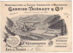 GERARDMER  - Carton Pub  Manufacture  GARNIER-THIEBAUT Et Cie - Gerardmer