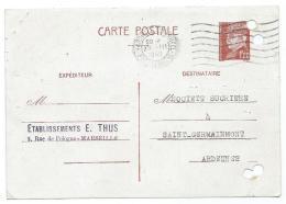CARTE POSTALE EXPEDIEE PAR ETABLISSEMENTS E. THUS A MARSEILLE VERS SOCIETE SUCRIERE DE SAINT GERMAINMONT - Entiers Postaux