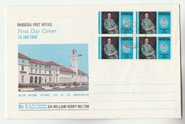 1969 RHODESIA FDC Stamps BLOCK Of 4 X HENRY MILTON , Cover - Rhodesia (1964-1980)