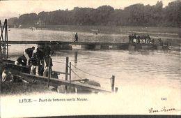 Liège - Pont De Bateaux Sur La Meuse (animée, 1905) - Luik