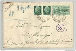 Francobolli Centesimi 25 Repubblica Sociale Piu' Espresso Lire 25 Su Busta Con Manoscritto Concentamento 17 - 1900-44 Victor Emmanuel III
