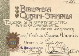 VENEZIA BIBLIOTECA QUERINI STAMPALIA 1909 SALE RISERVATE - Biglietti D'ingresso