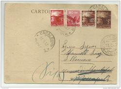 Francobolli Da Lire 3 - Cent. 80 - Lire 120 - Lire 3 Su Cartolina Postale Anno 1947 - 6. 1946-.. Repubblica