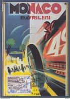 = 50ème Grand Prix Monaco Front De Mer Avec Vieilles Voitures Carte Postale 1er Jour 13.3.92 N°1814 - Maximum Cards