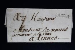 France: Lettre Complet 1745 Lander Indice 10 Lenzin 2 B  A Rennes Waxed Sealed - 1701-1800: Précurseurs XVIII
