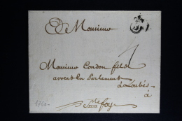 France: Lettre Complet 1760 Bordeaux A St Foy La Grande - Marcophilie (Lettres)