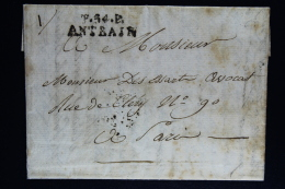 France:  Lettre Complet Port Paye 1824 Antrain P 54 P A Paris - 1801-1848: Voorlopers XIX