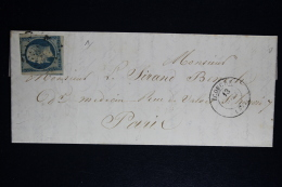 France: Lettre Complet  1854  Econche  Paris A Paris  Yv Nr 15 - 1853-1860 Napoleon III