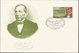 L) 1981 MEXICO, 175TH ANNIVERSARY OF THE BIRTH OF BENITO JUAREZ, RESPECT FOR OTHERS LAW IS PEACE, GREEN, FDC - Mexico
