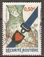 FRANCE   -   2004  .  Y&T N° 3659 Oblitéré  Cachet Rond.   Sécurité Routière  /  Ceinture  /  Coeur. - Usados