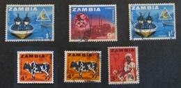 Zambia 1964 Lot 6 Stamps Used Fishing Cotton Zambezi Bull - Zambia (1965-...)