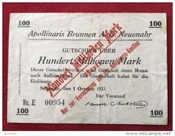Original Notgeldschein Apollinaris Brunnen AG Bad Neuenahr 100 Milliarden Mark 1923 Überdruck Rarität - Lokale Ausgaben