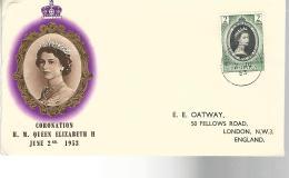 52803 ) Dominica FDC Postmark 1953 Coronation Enclosure - Dominica (...-1978)