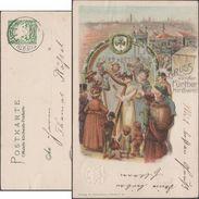 Bavière 1904. Carte Entier TSC. Gruss Von Der Fürther Kirchweit. Volksfest. Musiciens (harpe, Violon, Guitare), Manèges - Musique