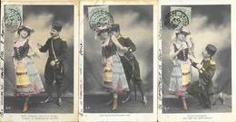 Série Complète E.P. De 6 Cartes Dos Simple - Couple Avec Militaire Russe: Déclaration D'Amour à La Belle Italienne - Couples