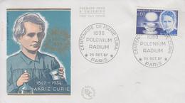 Enveloppe  FDC   Centenaire  De   MARIE  CURIE     1967 - FDC