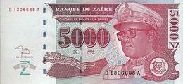 ZAIRE 5000 NOUVEAUX ZAIRES 1995 P-68a UNC PRINTER: GIESECKE & DEVRIENT [ZR146a] - Zaire