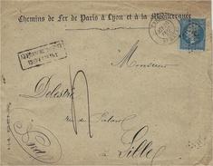 1865 -enveloppe De PARIS / Bt MAZAS Affr. N°22  Oblit. étoile 30 + Affranchissement Insuffisant Noir + Taxe 4 D - Postmark Collection (Covers)