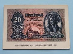 COLECTARJETAS A 29 - HUNGRIA - 20 PENGÖ - 1941 ( Eurohobby ) Anno 19?? ( Zie Foto's ) ! - Monnaies (représentations)