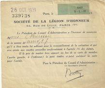 75 PARIS DOCUMENT SOCIETE DE LA LEGION D HONNEUR 1940 TIMBRE COURRIER MILITARIA GUERRE - 1939-45