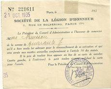 75 PARIS DOCUMENT SOCIETE DE LA LEGION D HONNEUR 1935 COURRIER MILITARIA GUERRE OBLITERATION TAMPON - 1939-45