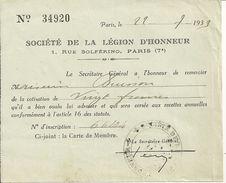 75 PARIS DOCUMENT SOCIETE DE LA LEGION D HONNEUR 1939 COURRIER MILITARIA GUERRE OBLITERATION TAMPON - 1939-45
