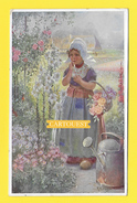 CPA ILLUSTRATEUR ENFANT R.A HÄGER MUNK WIEN FILLE  Jardin Fleurs - Dessins D'enfants