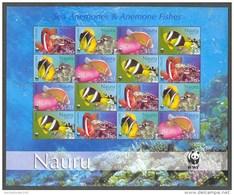 Nbx324MSc WWF FAUNA VISSEN ANEMONEFISH FISCHE POISSONS MARINE LIFE NAURU 2003 PF/MNH - W.W.F.