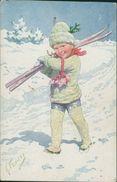 AK Karl Feiertag, Knabe Mit Skier, BKWI 3173-2, Rückseite Fleckig (26430) - Feiertag, Karl