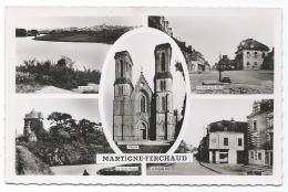 CPSM MARTIGNE FERCHAUD, PANORAMA, MAIRIE ET PLACE, GRANDE RUE, EGLISE, Format 9cm Sur 14cm Env, ILLE ET VILAINE 35 - France