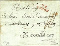 1795- Lettre De 79 / LUCON ( Vendée ) 21 X 9 Mm Rouge  TAXE 10  Sous Pour Maillezay ( - De 50 Lieues ) - Poststempel (Briefe)
