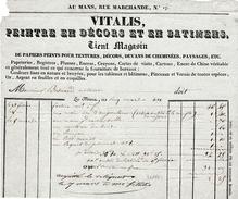 1891 - LE MANS (72) 17, Rue Marchande - VITALIS, Peintre En Décors Et En Batiments - Documents Historiques