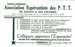 Vieux Papiers - Buvard - Poste - Esperanto -  Association Espérantiste Des PTT De France Et Des Colonies - Buvards, Protège-cahiers Illustrés