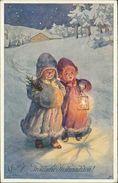 AK Karl Feiertag, Fröhliche Weihnachten, Mädchen Mit Laterne, BKWI 2853-6 (26447) - Feiertag, Karl