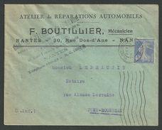 Loire Inférieure , Nantes , Semeuse N°237 Seul Du 20 6 1930 - Postmark Collection (Covers)