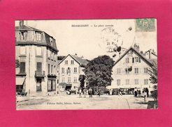 70 Haute Saône, Beaucourt, La Place Centrale, Animée, Marchands, 1907, (Félicien Bailot) - Autres Communes